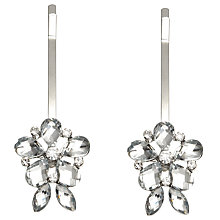 Buy John Lewis Glass Stone Flower Hair Slide, Pack of 2, Silver Online at johnlewis.com