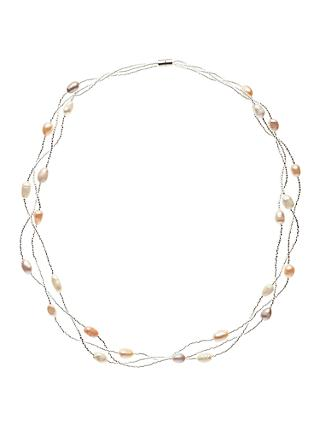 John Lewis & Partners Faux Pearl Layered Necklace, Silver/Multi