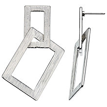 Buy John Lewis Textured Double Rectangle Drop Earrings, Silver Online at johnlewis.com