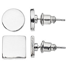 Buy John Lewis Square and Circle Stud Earrings, Pack of 2, Silver Online at johnlewis.com