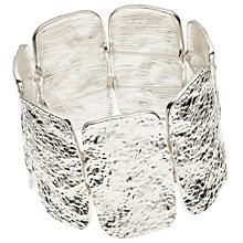 Buy John Lewis Rectangular Hammered Detail Stretch Bracelet, Silver Online at johnlewis.com