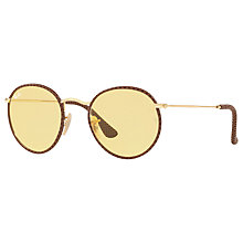 Buy Ray-Ban RB3475Q Round Craft Sunglasses, Gold/Yellow Online at johnlewis.com