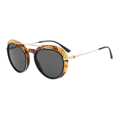 Giorgio Armani AR6055 Oval Sunglasses, Gold Tortoise/Black