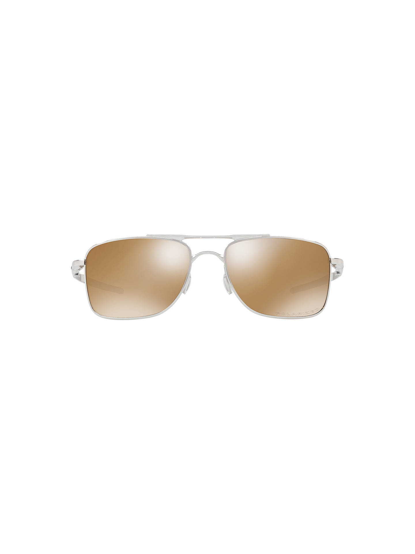 1d6c89f57 Buy Oakley OO4124 Gauge Polarised Rectangular Sunglasses, Silver/Mirror  Brown Online at johnlewis.