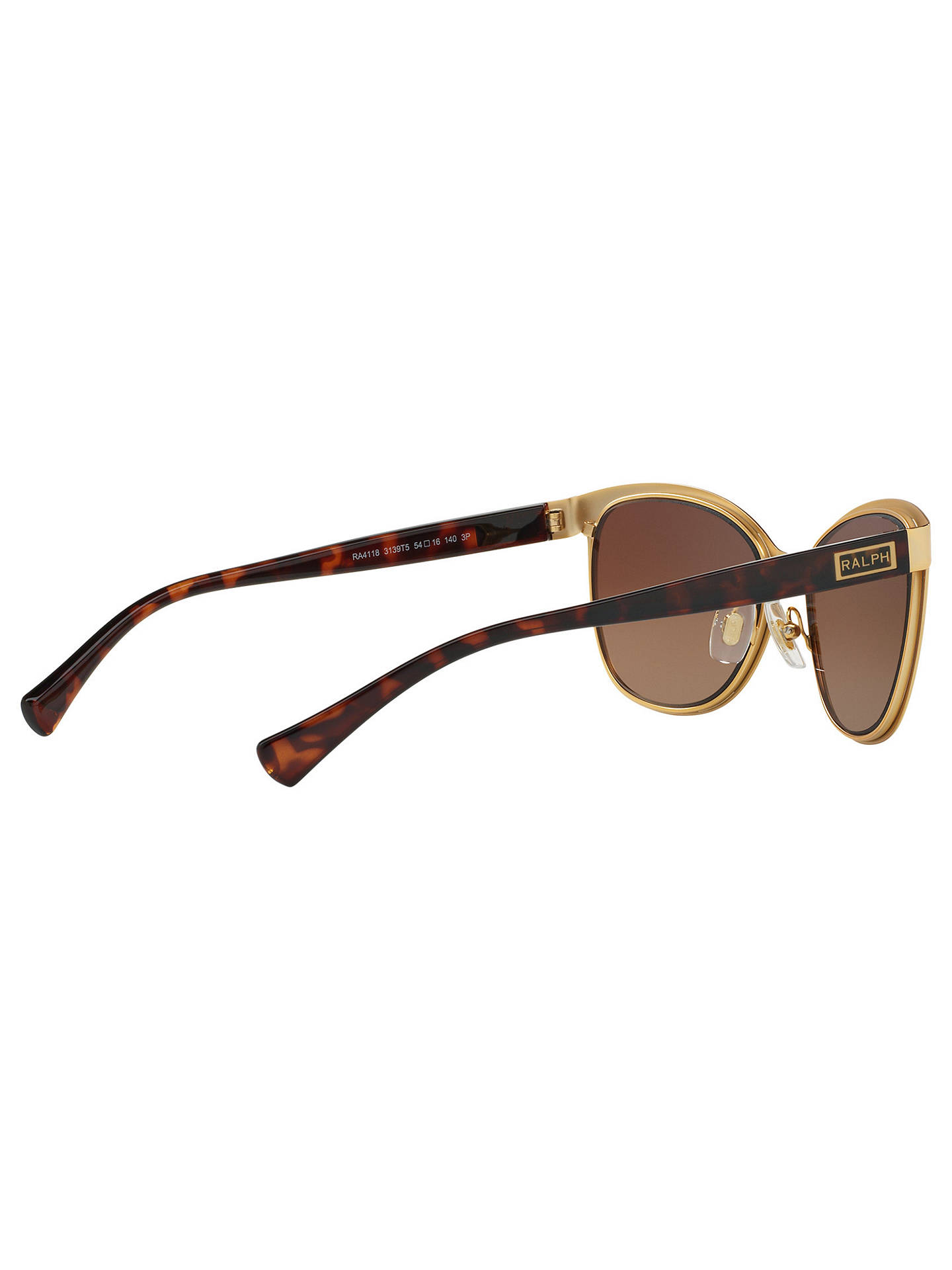 Buy Ralph RA4118 Polarised Cat's Eye Sunglasses, Gold/Brown Online at johnlewis.com