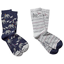Buy Fat Face Elephant Print Ankle Socks, Pack of 2, Navy/Grey Online at johnlewis.com
