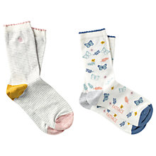 Buy Fat Face Stripe and Butterfly Print Ankle Socks, Pack of 2, Cream/Multi Online at johnlewis.com