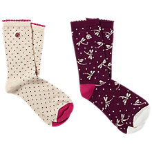 Buy Fat Face Spot and Dragonfly Print Ankle Socks, Pack of 2, Grape/Cream Online at johnlewis.com