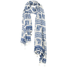 Buy Fat Face Batik Elephant Motif Tassel Scarf, Ivory/Navy Online at johnlewis.com
