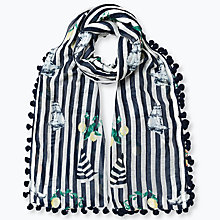 Buy East Fabiola Print Pom Pom Scarf, Black Online at johnlewis.com