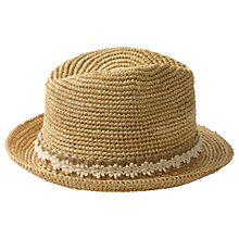 Buy Fat Face Floral Lace Band Straw Trilby Hat, Natural Online at johnlewis.com