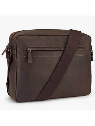 John Lewis & Partners Toronto Leather Messenger Bag, Brown