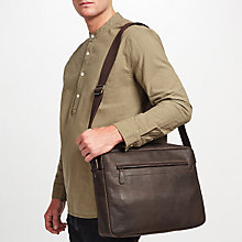 Buy John Lewis Toronto Leather Messenger Bag, Brown Online at johnlewis.com