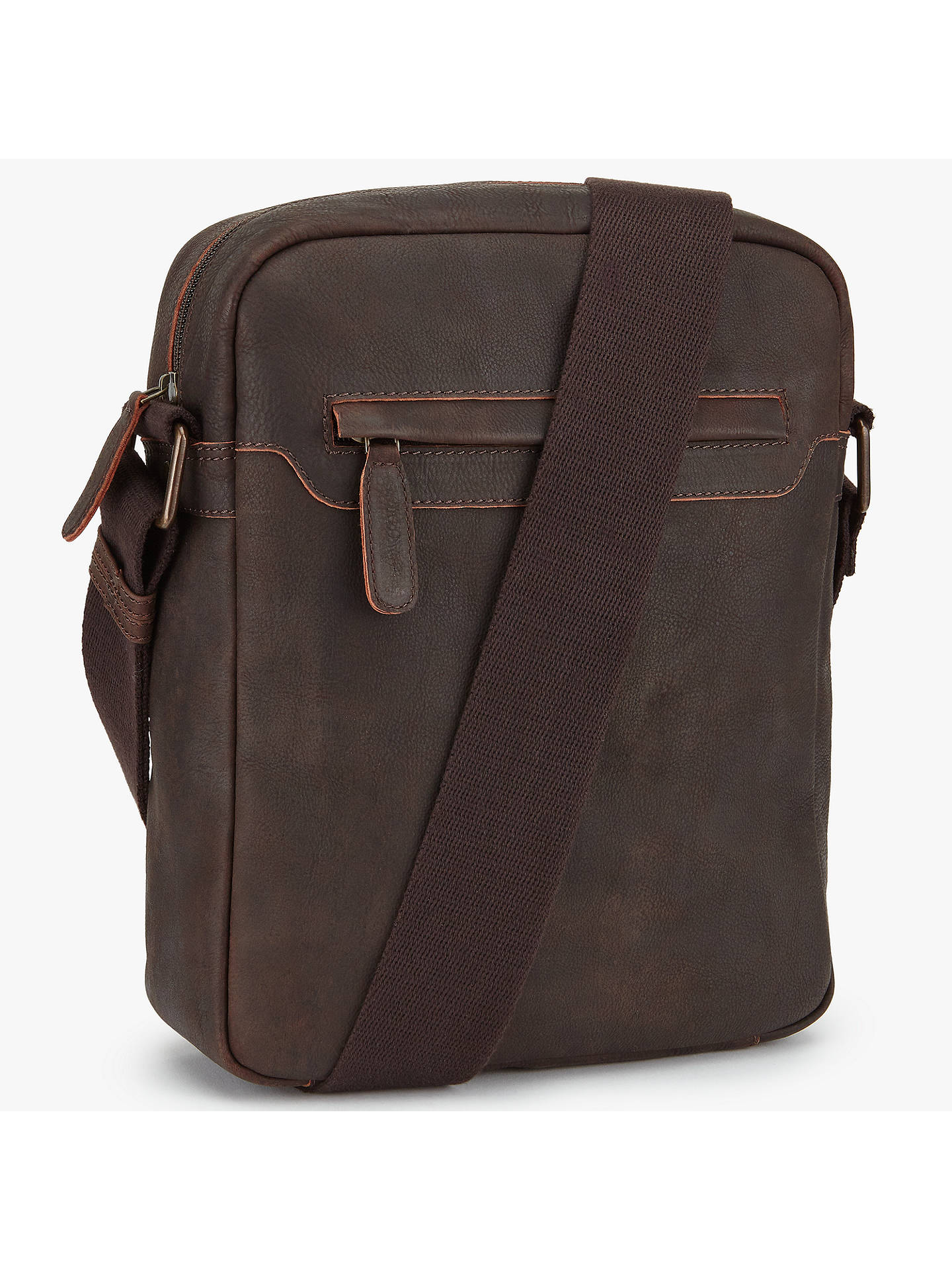 John Lewis Partners Toronto Leather Reporter Bag Brown Online At Johnlewis