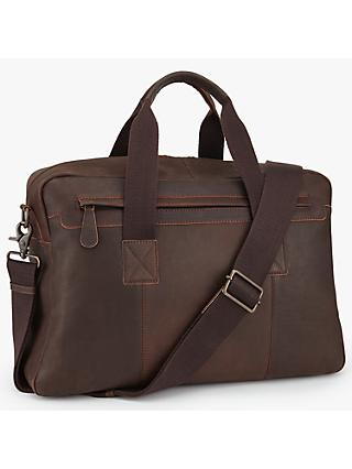 John Lewis & Partners Toronto Leather Holdall, Brown