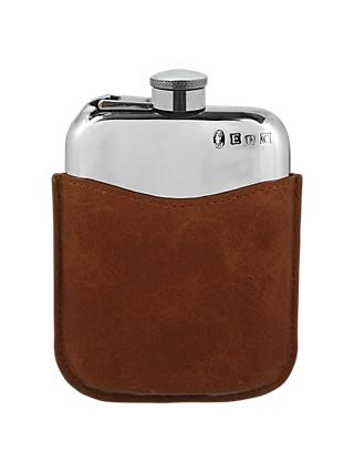 English Pewter Company Captive Top Hip Flask and Tan Leather Pouch, 170ml, Pewter/Tan