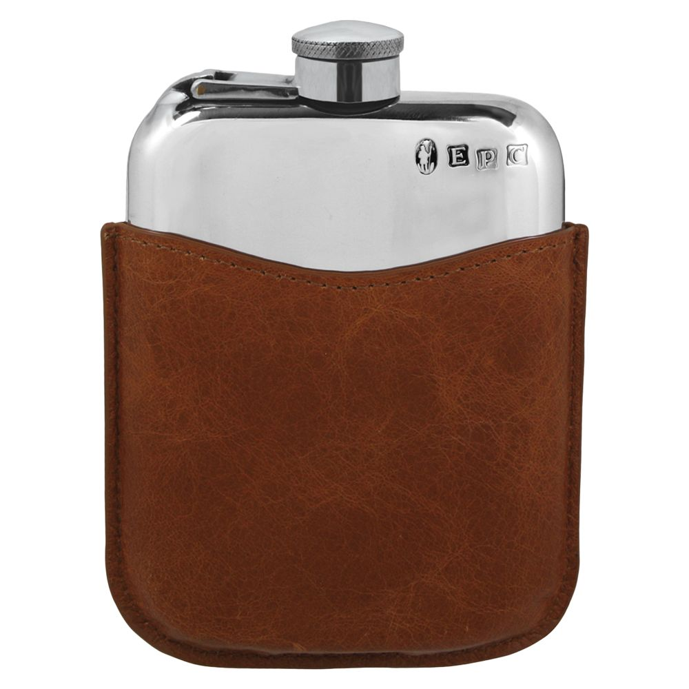 English Pewter Company English Pewter Company Captive Top Hip Flask and Tan Leather Pouch, 170ml, Pewter/Tan