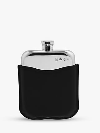 English Pewter Company Pewter Hip Flask with Leather Pouch, 170ml