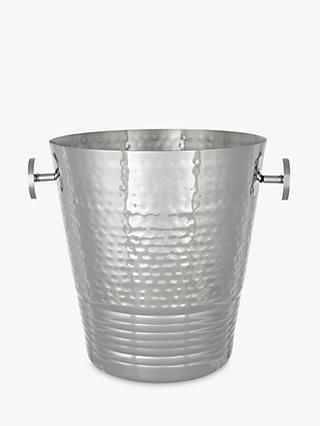 John Lewis & Partners Hammered Ridge Stainless Steel Champagne Bucket, Silver