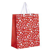 Buy John Lewis Folklore Birds & Berries Medium Gift Bag, White/Red Online at johnlewis.com