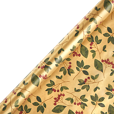 John Lewis Into The Woods Gold Cranberry Craft Gift Wrap, 3m