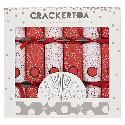 Crackertoa Firework Christmas Crackers, Pack of 6, Red/White