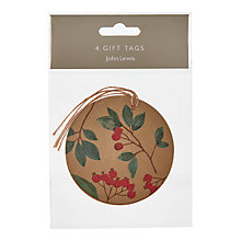 Buy John Lewis Into the Woods Cranberry Gold Gift Tags, Pack of 4 Online at johnlewis.com
