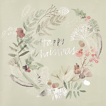 Buy John Lewis Floral Foliage Wreath Charity Christmas Cards, Pack of 6 Online at johnlewis.com
