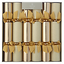 Buy John Lewis Premium Christmas Crackers, Pack of 6, Gold Online at johnlewis.com