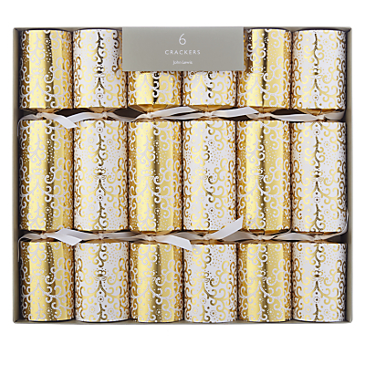 John Lewis Tales of the Maharajah Lace Trail Christmas Crackers, Pack of 6, Gold/White