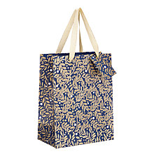 Buy John Lewis Winter Palace Leaves Navy Glitter Gift Bag, Small, Navy Online at johnlewis.com
