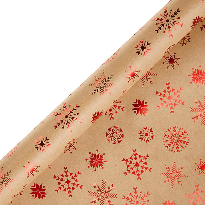 Buy John Lewis Kraft Snowflake Wrap 3m Online at johnlewis.com