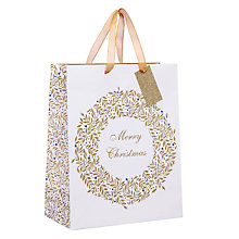 Buy John Lewis Winter Palace Merry Christmas Wreath Gift Bag, Medium, White Online at johnlewis.com