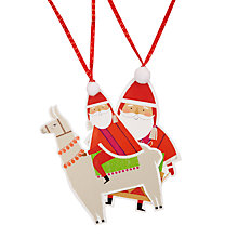 Buy John Lewis Lima Llama Santa Die Cut Gift Tags, Pack of 2 Online at johnlewis.com