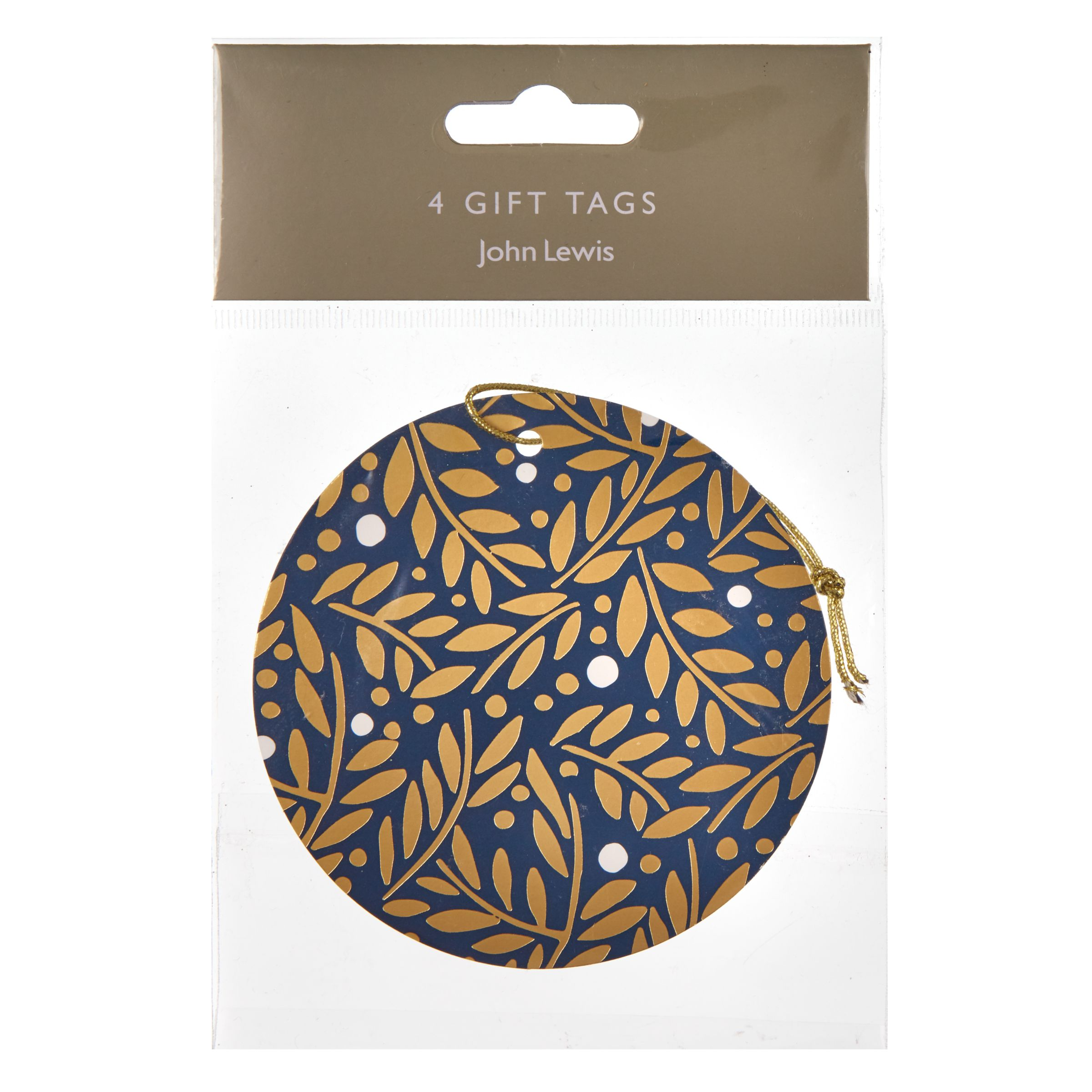 John Lewis Winter Palace Leaves Navy Round Gift Tags, Pack