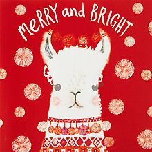 Buy John Lewis Merry And Bright Llama Charity Christmas Cards, Pack of 6 Online at johnlewis.com