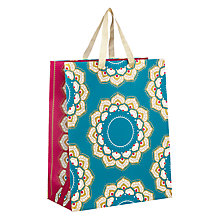 Buy John Lewis Tales of the Maharaja Wreath Teal Medium Gift Bag Online at johnlewis.com