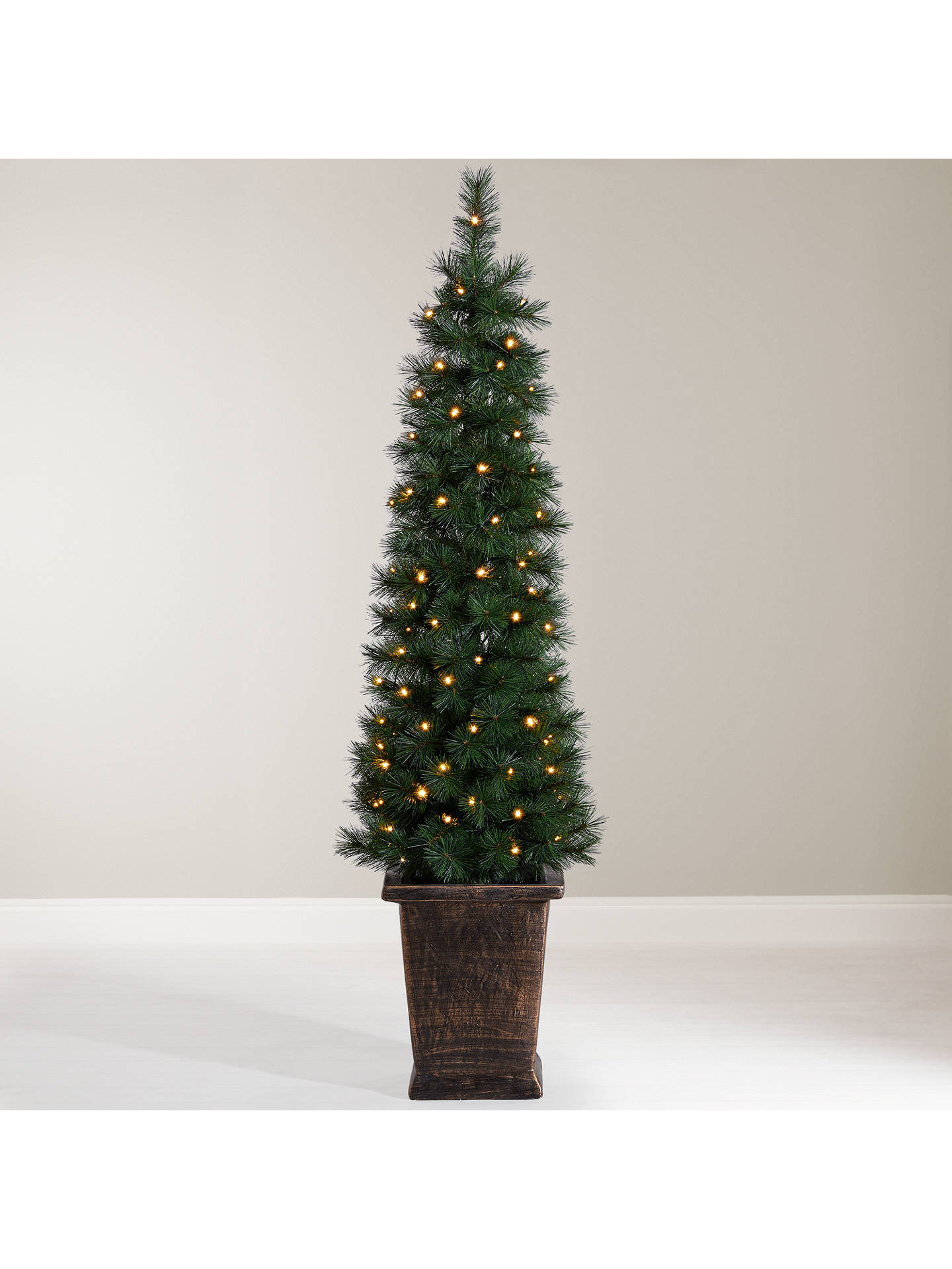 Pencil Christmas Tree.John Lewis Pre Lit Pencil Pine Potted Christmas Tree 5ft At