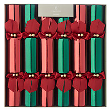 Buy John Lewis Premium Christmas Crackers, Pack of 6, Red/Green Online at johnlewis.com