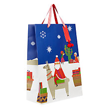 Buy John Lewis Lima Llama Santa On Llama Large Gift Bag Online at johnlewis.com