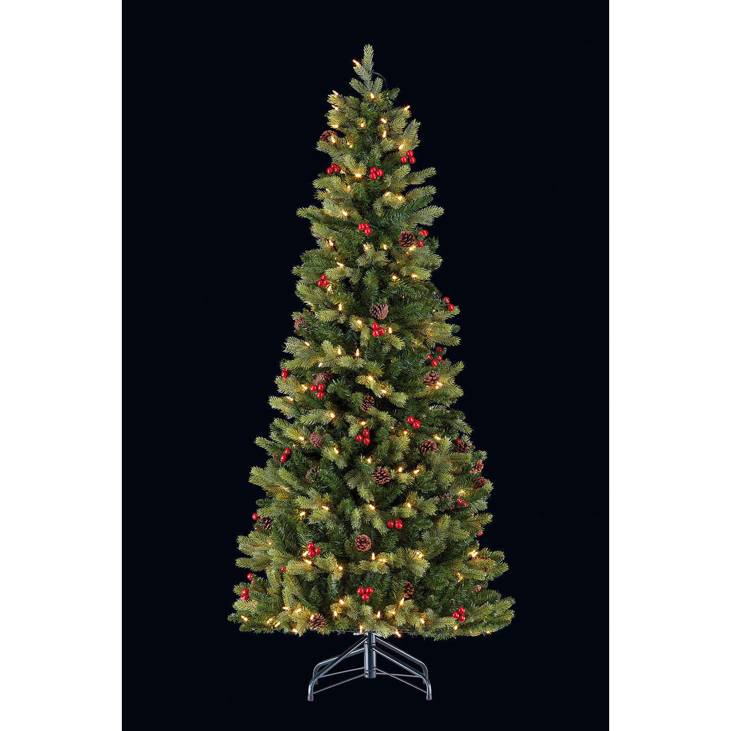 Buyjohn Lewis Pre Lit Cone And Berry Pop Up Christmas Tree, 6Ft