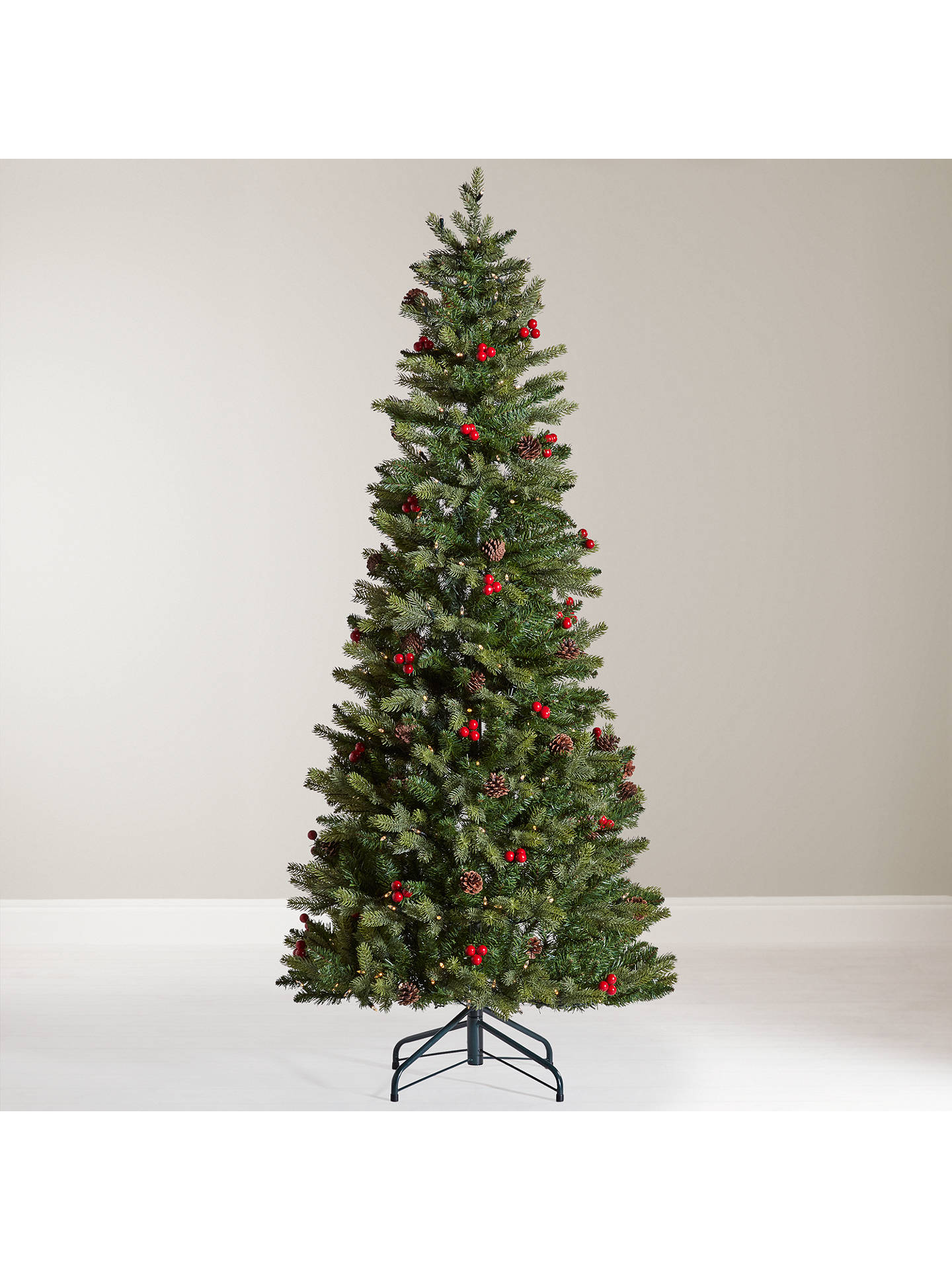 buyjohn lewis pre lit cone and berry pop up christmas tree 6ft online - Pre Decorated Pop Up Christmas Trees