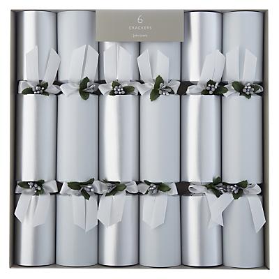 John Lewis Premium Christmas Crackers, Pack of 6, White/Silver