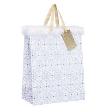 Buy John Lewis Winter Palace Snowflake White and Feather Medium Gift Bag Online at johnlewis.com