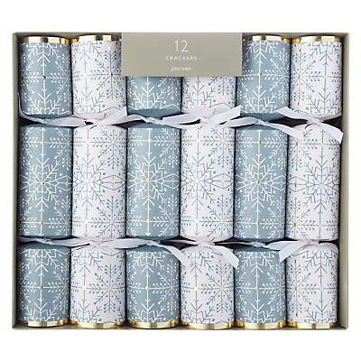 John Lewis Winter Palace Snowflake Christmas Crackers, Pack of 12, Blue/White
