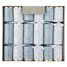 Buy John Lewis Winter Palace Snowflake Christmas Crackers, Pack of 12, Blue/White Online at johnlewis.com