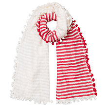 Buy East Stripe Cotton Linen Pom Pom Scarf Online at johnlewis.com