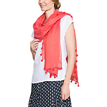 Buy East Cotton Silk Blend Pom Pom Scarf, Calypso Online at johnlewis.com