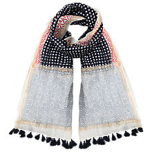 Buy East Square Spot Tassle Scarf, Navy Online at johnlewis.com