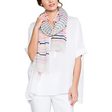 Buy East Stripe Cotton Scarf, Pink/Multi Online at johnlewis.com